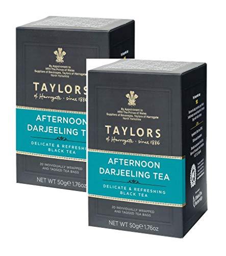 Taylors of Harrogate Afternoon Darjeeling Tea Delicada y refrescante Black Tea/Afternoon Tea Delicada y Refrescante - 2 x 20 Bolsitas de Té Individualmente Envueltas y Etiquetadas (100 Gramos)