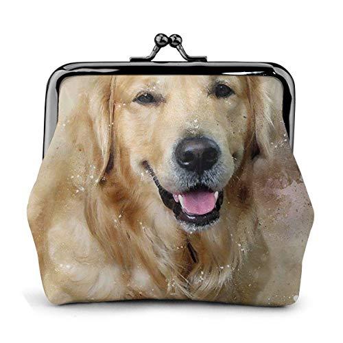 Trista Bauer Golden Retriever Happy Dog Animal Gift Themed Vintage Pouch Girl Kiss-Lock Monedero Monedero Monederos Hebilla Monederos de Cuero Llavero Mujer Impreso Novedad Mini