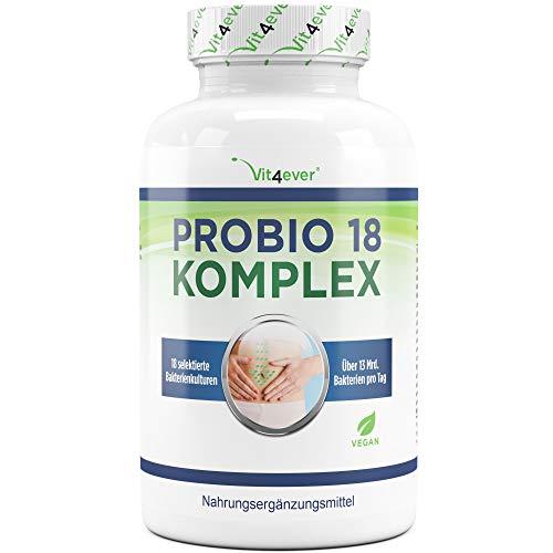 Vit4ever® Probio 18 Komplex - Kulturen Komplex mit 18 Bakterienstämmen + FOS - 180 magensaftresistente Kapseln (DRcaps®) - 13 Milliarden Milchsäurebakterien pro Tag - Hochdosiert - Vegan