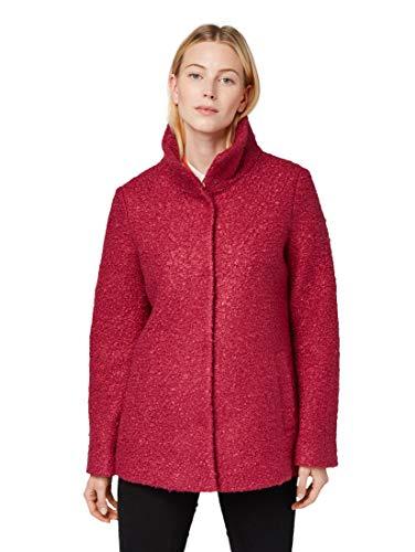 TOM TAILOR 1013800 18638 Damen Mantel in Boucle-Qualität Stehkragen Knopfleiste, Groesse 46, pink