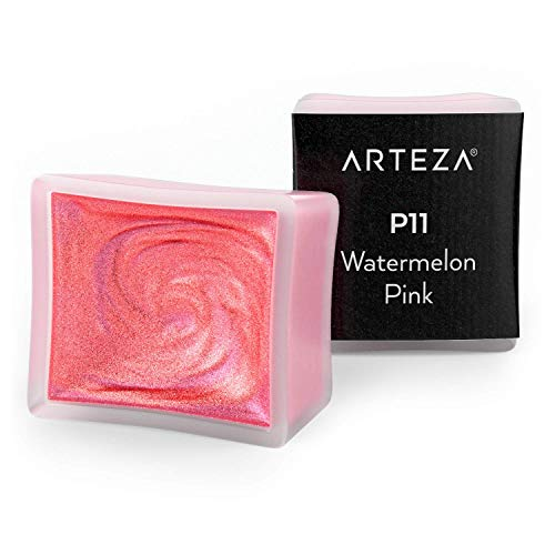 Arteza Metallic Watercolor Paint, Watermelon Pink A711, Set of 2 Half Pans, Pearl Paint, Vibrant and Pearlescent Hues, For Illustrations, Calligraphy, Painting