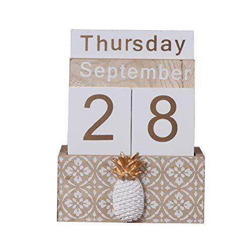 SUPVOX Calendario Perpetuo De Madera Calendario Diario De Escritorio Calandario De Bloques Suministros De Oficina Casa Artesania Decoración
