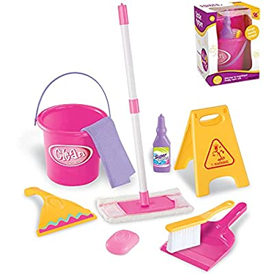Liberty Imports Little Helper Housekeeping Kids Pretend Play Toy Cleaning Supplies Pink Playset with Mop, Bucket, and Accessories by Liberty Imports