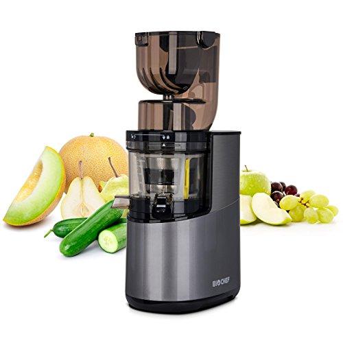 Bio Chef Atlas Whole Slow Juicer Pro – Extractor de zumos, 350W, 40 RPM, Licuadora Prensado en Frío. Garantía de por Vida en el Motor. (Plata)