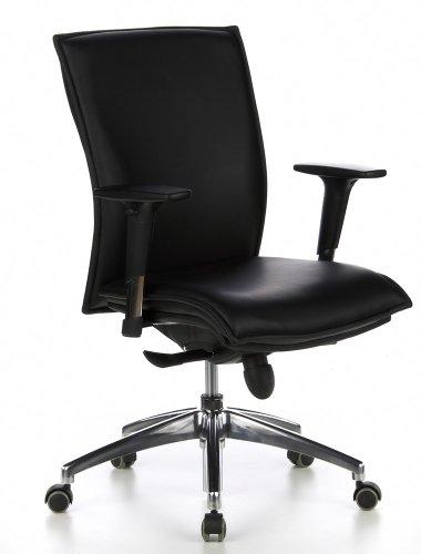 hjh OFFICE 600100 Sedia da ufficio/Sedia presidenziale MURANO 10 pelle nero, molto robusta, ergonomica, braccioli regolabili, schienale regolabile, elegante, meccanismo sincronizzato