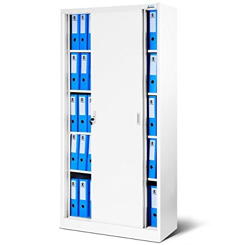 Jan Nowak by Domator24 Büroschrank mit Schiebetüren SD001 Stahlblech Fachböden Pulverbeschichtung abschließbar 185 cm x 90 cm x 40 cm (weiß/weiß)