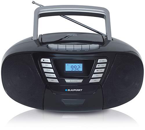 BLAUPUNKT B 120, CD Player Bluetooth Kinder - tragbarer Kassettenrekorder & Kinder CD Player mit Bluetooth Funktion, PLL UKW Radio, AUX & USB Anschluss, mit Griff, Farbe: Schwarz