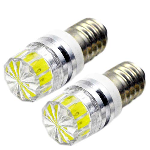 Ruiandsion - Bombillas LED de repuesto para linternas y linternas de cabeza, de 2 W COB 3 V, 6 V, 12 V, E10, Blanca/2700K Amarilla/4300 Blanca cálida, 2 unidades, Blanco, 6 V