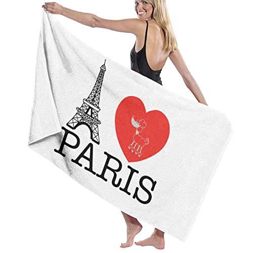 Iop 90p I Love Paris Toalla de baño Absorbente Toallas de baño Toallas de baño para Gimnasio Playa SPA, poliéster, Blanco, Talla única