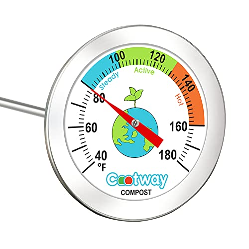 Cootway Compost Thermometer, 20 Inch Stem Backyard Compost Thermometer - 2 Inch Diameter Waterproof Anti-Fog Soil Testing Thermometer with Composting Temperature Guide Zone, 40 to 180 Degrees F