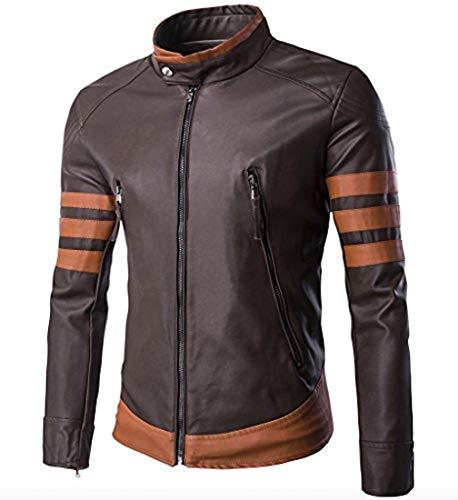 Cicilin Jaqueta masculina vintage de couro sintético para motocicleta, colarinho bomber marrom, Marrom, 3XL