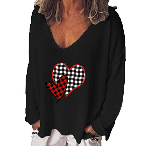 Xmiral Long Sleeve Shirt for Women Casual Heart Print Valentine's Day V-Neck Loose T-shirt Tops(b-Black,S)