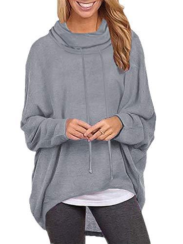 ZANZEA Sudaderas Mujer Cuello Alto Camiseta Manga Larga Irregular Pullover Color Sólido Jersey X-Gris Cuello Alto M