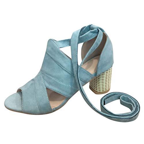 NMERWT Damen Sandalen High Heels Rom Riemchen Schnüre Blockabsatz Dicker Absatz Schnürer Frauen Sommer Sandaletten Schnürschuhe Pumps Knöchelriemen Open Toe Sandals