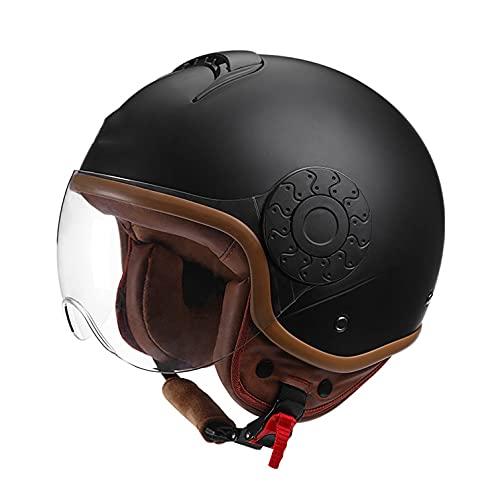 Cascos De Moto Abiertos para Adultos,Aprobado ECE 3/4 Casco de Moto Jet Half Helmet con Visera para Mujeres y Hombres Casco Moto Abierto para Mofa Scooter Biker Racing Jet Casco A,M