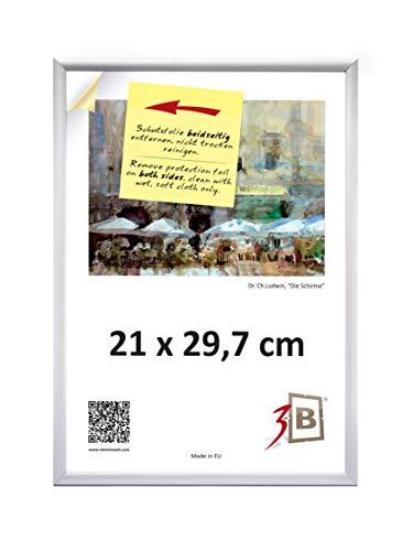 3-B Bilderrahmen ALU Foto 21x29,7 cm (A4) - Silber matt - Alurahmen, Fotorahmen mit Polyesterglas.