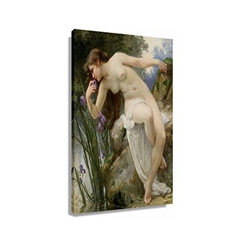 Guillaume Seignac Perfumado Iris Academicism Posters Art Print Lienzo para pared contemporánea paneles de pared para baño moderno decoración del hogar (30 x 45 cm), sin enmarcar