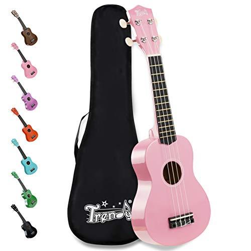 Trendy Soprano Ukulele for Beginners 21 Inch Hawaiian Ukulele for Kid Adult Student with Gig Bag (Pink)