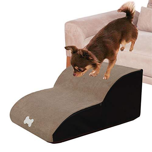 Renoble Hundtrappor 2 steg husdjursramp halkfri för bäddsoffa sofftyg skydd extra ramp stege för små äldre djur små stora hundar katter 40 x 55 x 25 cm