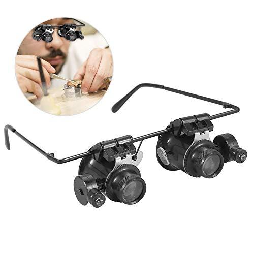 Lupen Brillen 20x Lupe Juwelier Werkzeug Uhr Reparatur LED-Licht Objektiv Lupe