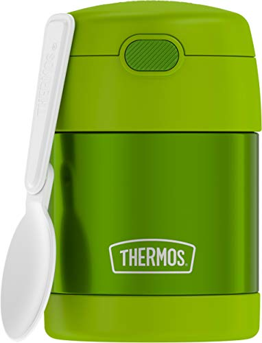 THERMOS FUNTAINER 10 Ounce Stainless Steel Vacuum Insulated Kids Food Jar with Folding Spoon, Lime