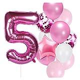 Yinyimei Globos 12 unids Número Globos Set Baby Boy Girl Cumpleaños Decoraciones Decoraciones Niños 40 Pulgadas Número Globo Bebé Ducha Foil Número Baloon (Color : 5)