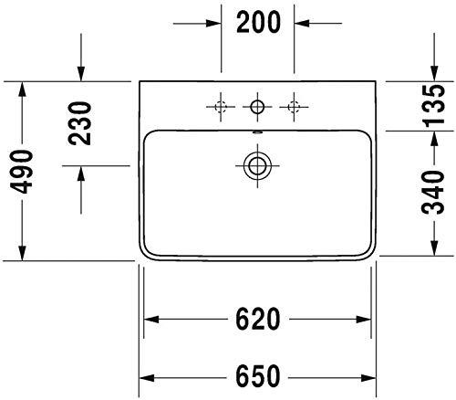 Duravit Waschtisch ME by Starck 650 mm, mit 3 Hahnlöcher, weiß, 2335650030