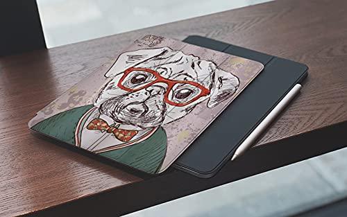 MEMETARO Funda para iPad (9,7 Pulgadas 2018/2017 Modelo), Vintage Old Hipster Pug Dog con Gafas Rojas Bow Master of Professor Smart Leather Stand Cover with Auto Wake/Sleep