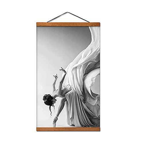 Negro Blanco Moderno Ballet Baile Chica Lienzo Cuadro Cuadro Arte Carteles e Impresiones Arte de la pared para la decoración del hogar 50x70cm con marco