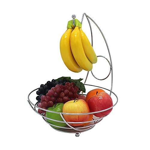 St@llion Chrome Banana Hanger Tree Holder Fruit Storage Bowl Basket Stand Hook New 2 in 1 Fruit Bowl