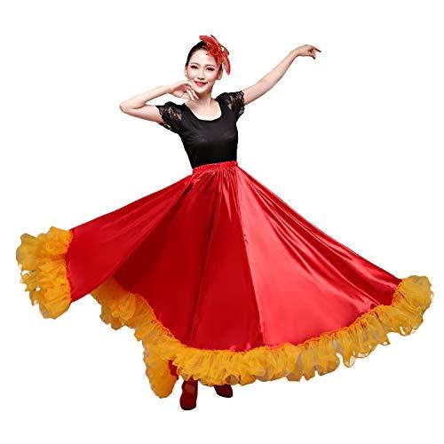 LOLANTA falda de bailarina de flamenco español, para mujer Rojo Red Skirt&yellow Edge ^