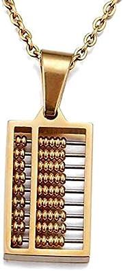 N/A Good Choice como un Regalo Abacus Colgante Collar de Titanio Forte para Hombres Ropa Accesorios para la Familia y Amigos Mujer