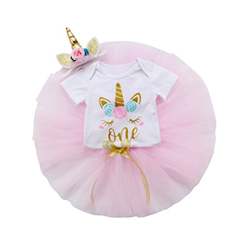 3Pcs Unicorn Baby Girls 1st Birthday Tutu Outfits Romper+Tulle Skirt Dress+Flower Headbands Clothes Set 12-18 Months Pink