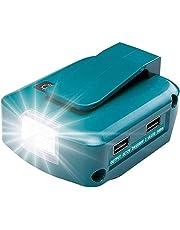 USB-adapter voor Makita accu 18 V ADP05 met led-werklicht en 1 poort DC 12 V 2 A & 2 USB-poorten (batterij niet inbegrepen).