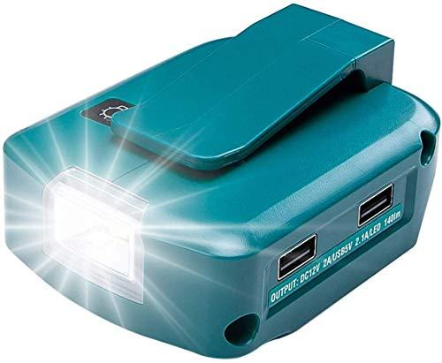 Mellif Akku USB Adapter für Makita 18V DEBADP05 mit LED-Arbeitslicht & 1 DC 12V 2A Port & 2 USB Ports (Akku NICHT enthalten)