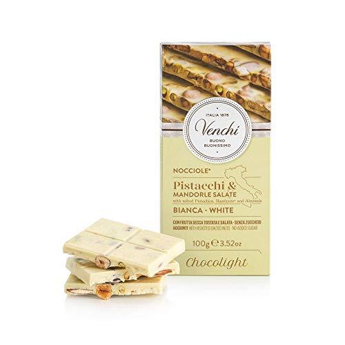 Venchi Tavoletta di Cioccolato Bianco con Frutta Secca Salata, Senza Zuccheri Aggiunti 100g - Senza Glutine