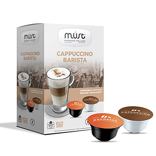 MUST 96 Capsule Caffè Autoprotette in Plastica 100% Riciclabile, miscela CAPPUCCINO BARISTA pack da 16 Capsule per 6 confezioni compatibili con macchina / macchinetta Dolce Gusto Cialde Made in Italy