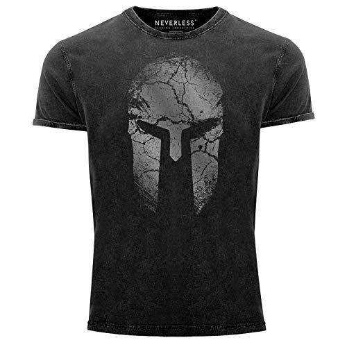 Neverless® Herren Vintage Shirt Aufdruck Sparta Helm Spartan Warrior Printshirt T-Shirt Used Look Slim Fit schwarz L