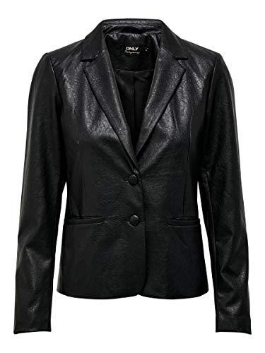 Only ONLALMA Faux Leather Blazer Otw, Nero, M Donna