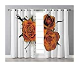 Goods247 Blackout Curtains,Grommets Panels Printed Curtains Living Room (Set of 2 Panels,55 63 Inch Length),Roses Decorations