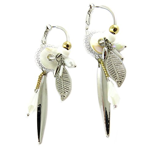 Les Trésors De Lily [Q1316] - Hoops designer 'Acapulco' white silver - 30x20 mm 70x19 mm.