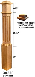 Ascension Stair Parts 991RSP Poplar Raised Panel Ranch Box Newel Post