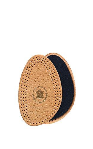 Kaps Halfix Einlegesohlen halb – 2x Premium Leder & Latex Halbsohle–halbe Einlegesohlen mit Polster gegen Verrutschen, Blasen in Heels, für flache Schuhe/Stiefel – Beige & Schwarz (35-36 EUR Beige)