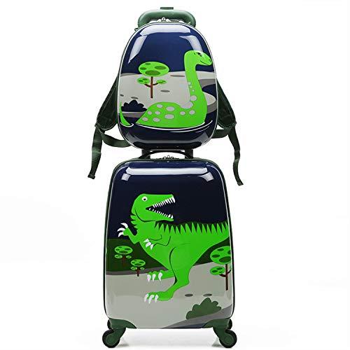 Conjunto de equipaje de niños de dibujos animados, linda maleta pequeña, liviana y portátil con cuatro ruedas universales, viajes de la escuela de mochila de niño y niña (2pc 12 '' 18 ').,Dinosaur
