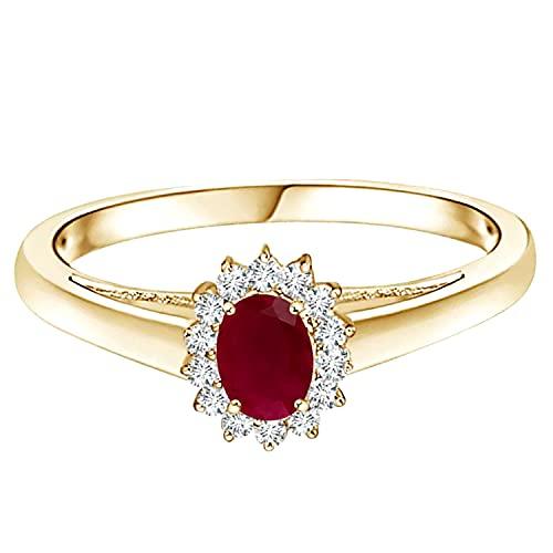 0.50 Ctw princesa Diana Inspirado Rubi rojo Piedra preciosa Oro amarillo de 9 quilates solitario Anillo (oro amarillo, 26.5)