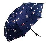 Lirener Cambiare Colore sotto la Pioggia Ombrello Pieghevole Antivento Anti-UV Ombrello Compatto, Cambiare Colore Protezione Solare Ombrellone per Viaggio Outdoor, Modello di Farfalla