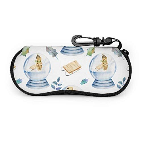 Animal navideño en globo de cristal Estuche para gafas para niñas Senderismo Estuche para gafas de sol Estuche para gafas con cremallera de neopreno Divertido