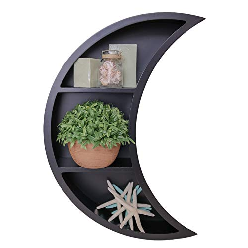 Wooden Floating Moon Shelf - Decorative Crescent-Shaped Wall Storage Display- Easy-Mount 3-Tier Decor - 17 x 12 x 3 Inches - Perfect for Bedroom Living Room Nursery Kitchen - Black