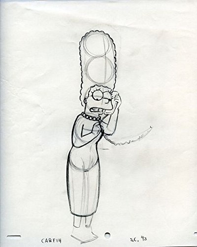 The Simpsons Marge Simpson Original Animation Cell Art Production Layout Drawing
