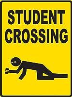 Student Crossing 注意看板メタル安全標識注意マー表示パネル金属板のブリキ看板情報サイントイレ公共場所駐車ペット誕生日新年クリスマスパーティーギフト